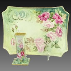 Guerin Limoges France Vanity Tray Hat Pink Holder Hand Painted Pink Tea Roses
