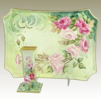 Guerin Limoges France Vanity Tray Hat Pink Holder Hand Painted Pink Tea Roses