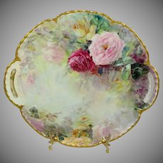 Haviland Limoges France Two Handle Plate Hand Painted Roses