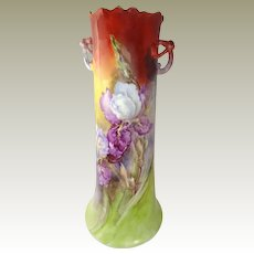 "Guerin Limoges 15"" Vase Twisted Handles Hand Painted Iris"