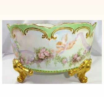 Antique AK French Limoges Ferner Vase Hand Painted Roses Cherubs