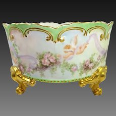Antique AK French Limoges Ferner Vase Hand Painted Roses Cherubs