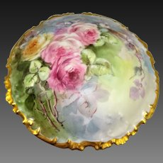 GDA French Limoges Powder Jar Hand Painted Roses