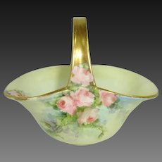 Porcelain Basket Hand Painted Pink Tea Roses