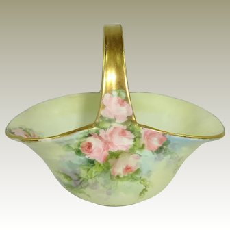 Porcelain Basket Hand Painted Pink Tea Roses