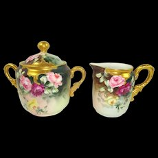 Antique French Limoges Gilded Sugar Creamer Hand Painted Roses Signed Dated 1893