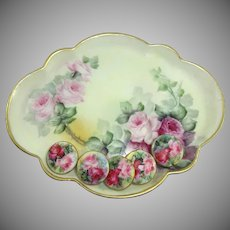 GDA Limoges France Trinket Tray with 5 Hand Painted Porcelain Buttons Studs