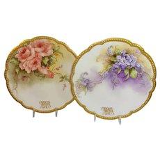 2 Antique Limoges Plates Tea Roses and Violets Artist Signed