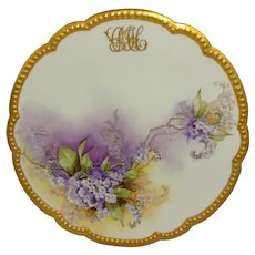 Antique French Limoges Plate Hand Painted Violets Signed