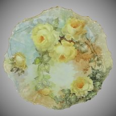 Coiffe Limoges France Antique Charger Hand Painted Roses