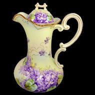 P.H. Leonard Austria Chocolate Pot Hand Painted Violets Signed