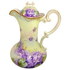 P.H. Leonard Austria Chocolate Pot Hand Painted Violets Signed