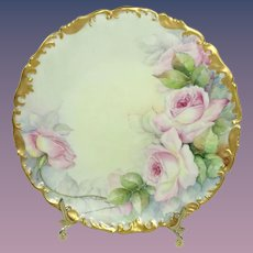 Antique French Limoges Plate Hand Painted Pink Tea Roses