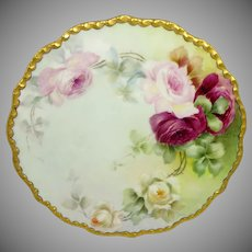 JPL Limoges France Plate Hand Painted Tea Roses Signed