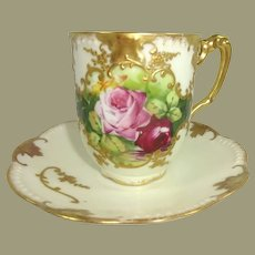 Antique AK French Limoges Cup Saucer Hand Painted Roses