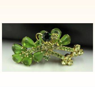 Exquisite D&E Peridot, Emerald Green and Citron Rhinestone Vintage Brooch Pin