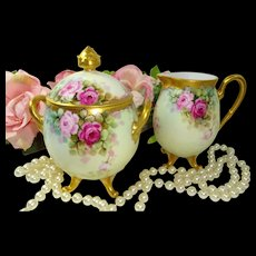Bavaria Sugar Creamer Hand Painted Tea Roses Artist Signed