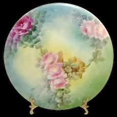 Antique Limoges Plate Hand Painted Pink Roses