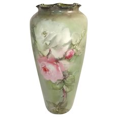 Philip Rosenthal Antique German Vase Hand Painted Roses