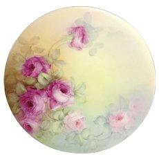 JPL Limoges Plate Hand Painted Pink Tea Roses Artist Signed