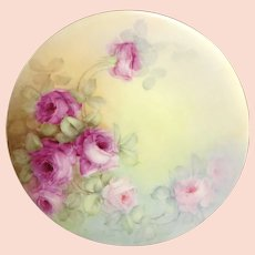 JPL Limoges Plate Hand Painted Pink Tea Roses Artist Signed