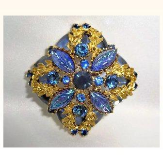Stunning Pressed Glass and Sapphire Rhinestone Gold Tone Brooch