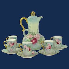 JPL Limoges Chocolate Set Hand Painted Roses
