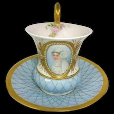 Antique French Limoges Cup Saucer Hand Painted Portrait Signed Dated 1899