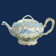 Antique Coiffe Limoges Tea Pot Hand Painted Artist Signed Dated 1893
