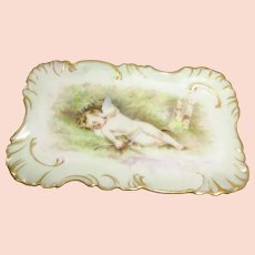 Early Haviland Limoges Trinket Tray with Cherub