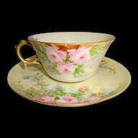 Guerin Limoges Cup Saucer Hand Painted PInk Roses Artist Signed
