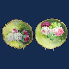 A Pair of Limoges Plaques Chargers Hand Painted Roses Artists Signed