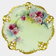 Antique Philip Rosenthal Bowl Hand Painted Pink Tea Roses