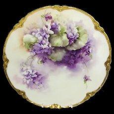 Antique Haviland Limoges Plate Hand Painted Violets Signed