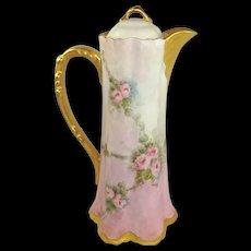 Stunning Porcelain Chocolate Pot Hand Painted Pink Tea Roses