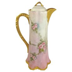 Stunning Porcelain Chocolate Pot Hand Painted Pink Tea Roses