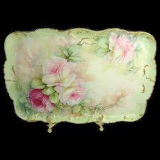 Antique Limoges France Tray Hand Painted Pink Tea Roses