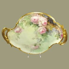 """Stunning 17 1/2"""" Double Handle Tray Hand Painted Pink Tea Roses Artist Signed"""