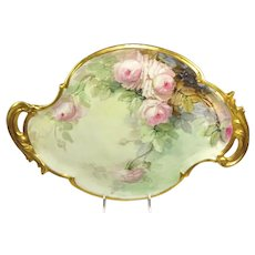 "Stunning 17 1/2"" Double Handle Tray Hand Painted Pink Tea Roses Artist Signed"