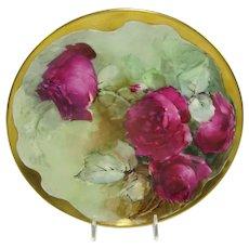 Haviland Limoges Plate Hand Painted Crimson Tea Roses
