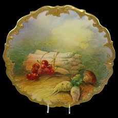 Limoges France Plaque Hand Painted Still Life Signed Golse