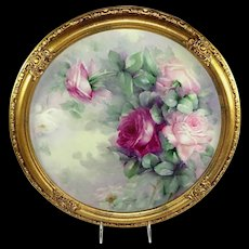 Framed Antique Limoges France Charger Hand Painted Roses