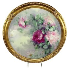 "16"" Framed Antique Limoges France Charger Hand Painted Roses"