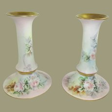Antique Pair of Austria Candlestick Holders Hand Painted Pink Tea Roses