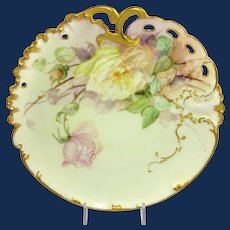 Early Haviland Limoges Plate Hand Painted Roses Artist Signed