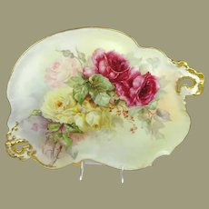 Guerin Limoges Tray Hand Painted Multicolored Tea Roses