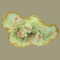 Antique French Limoges Porcelain Tray Hand Painted by Ester Miler