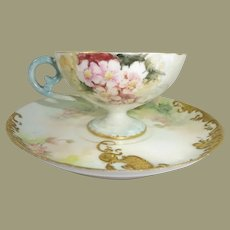 Antique Limoges Tea Cup Saucer Hand Painted Pink Flowers