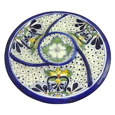 Colorful Vintage Mexico Pottery Chips Vegetable Dip Tray
