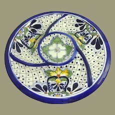 Over-sized Colorful Vintage Mexico Pottery Chips Vegetable Dip Tray